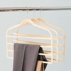 2 Pack Beige Velvet Multi-Layer Closet Hanger